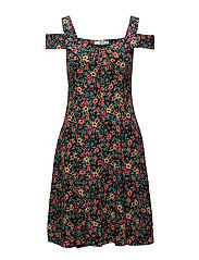 Flowers cold-shoulder dress - BLACK