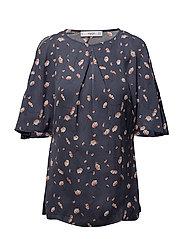 Floral print blouse - MEDIUM BLUE