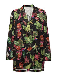 Tropical print blazer - BLACK