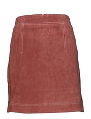 Stitch leather skirt - LT-PASTEL PINK