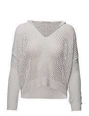 Hood net sweater - WHITE