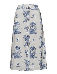 Printed button skirt - NATURAL WHITE
