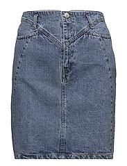 Interwoven cord denim skirt - OPEN BLUE