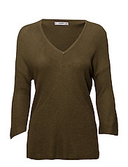 Back vent sweater - BEIGE - KHAKI