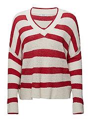 V-neck striped sweater - RED