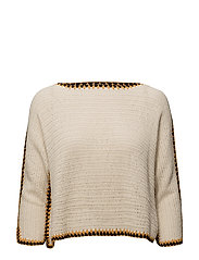 Trims crochet sweater - LIGHT BEIGE