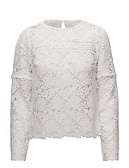 Floral guipure blouse - WHITE