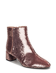 Sequinned high heel ankle boots - PINK