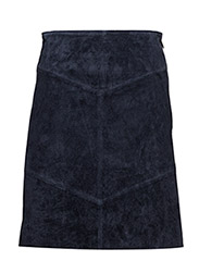 Seams leather skirt - BRIGHT BLUE