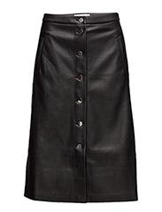 Buttoned midi skirt - BLACK