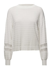 Contrast panel sweater - WHITE