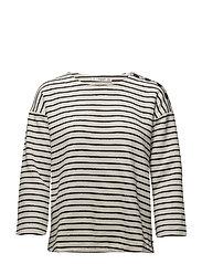 Textured striped sweatshirt - NATURAL WHITE