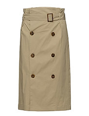 Double-breasted skirt - MEDIUM BROWN
