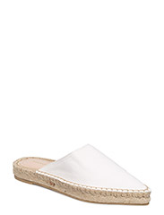 Slingback leather babouches - WHITE