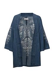 Embroidered denim kimono - OPEN BLUE