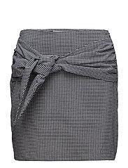 Knot checked skirt - BLACK
