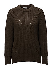 Open work-detail sweater - BEIGE - KHAKI