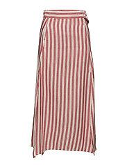 Striped linen-blend skirt - RED