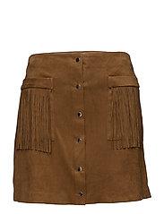 Pocket fringed skirt - MEDIUM BROWN