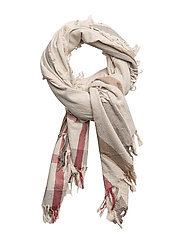 Stripe-pattern cotton scarf - LT PASTEL GREY