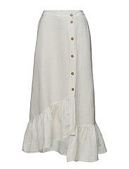 Ruffled linen-blend skirt - NATURAL WHITE