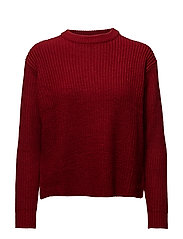 Decorative side slit sweatshirt - MEDIUM RED