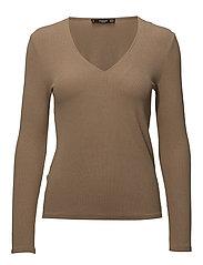 Ribbed t-shirt - MEDIUM BROWN