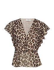 Ruffled leopard blouse - BROWN