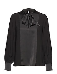 Bow satin blouse - BLACK