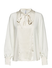 Bow satin blouse - NATURAL WHITE