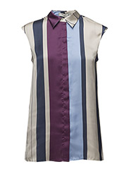 Striped satin blouse - MEDIUM BLUE