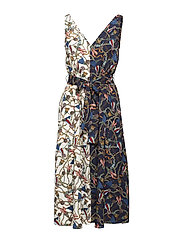 Scarf print dress - MEDIUM BLUE