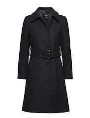 Belted wool coat - NAVY