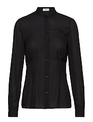 Pintuck detail blouse - BLACK