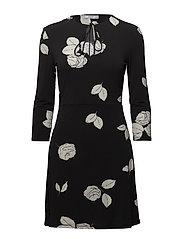 Cord textured dress - BLACK