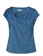 Geometric-print blouse - MEDIUM BLUE