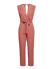 Lace v-neckline jumpsuit - PINK