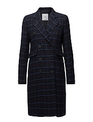 Checked structured coat - NAVY