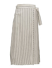 Striped wrap skirt - NATURAL WHITE