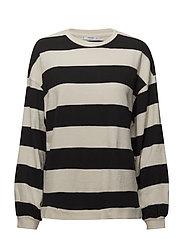 Striped cotton-blend sweatshirt - BLACK