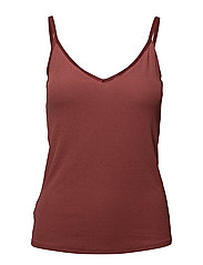 Ribbed knit top - DARK RED
