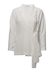 Unstructured bow blazer - NATURAL WHITE