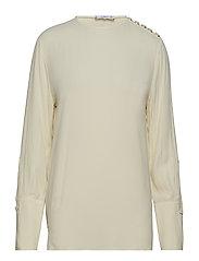 Buttoned flowy blouse - LIGHT BEIGE