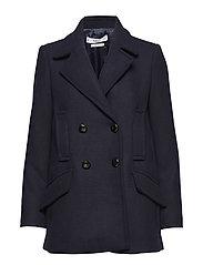 Lapels wool coat - NAVY