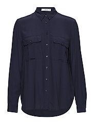 Pockets flowy shirt - NAVY