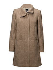 Wool funnel neck coat - MEDIUM BROWN