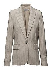 Striped structured blazer - LIGHT BEIGE