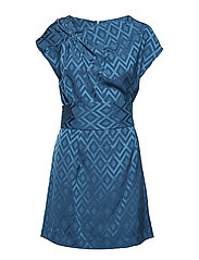 Geometric print dress - MEDIUM BLUE