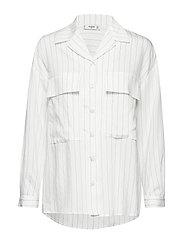 Chest-pockets striped blouse - WHITE