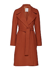 Buttoned wool coat - MEDIUM ORANGE